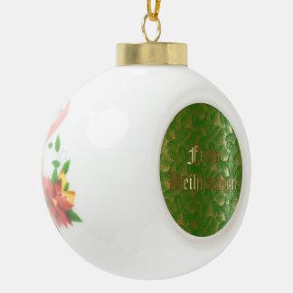 German Christmas Bell Ceramic Ball Ornament