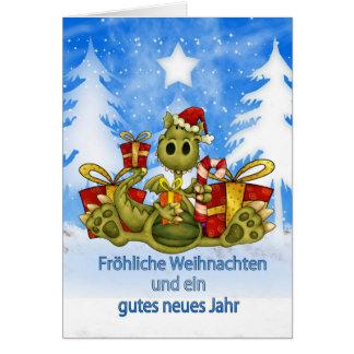 German Christmas Card - Cute Dragon - Fröhliche We