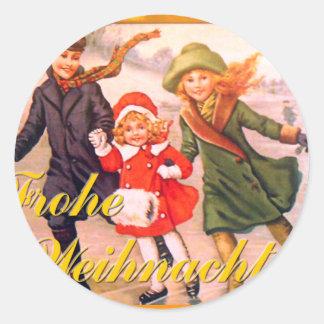 German Christmas Card Frohe Weihnachten Round Sticker