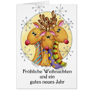 German Christmas Card - Reindeer - Fröhliche Weihn