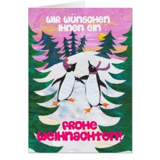 German Christmas Card - Skating Penguins