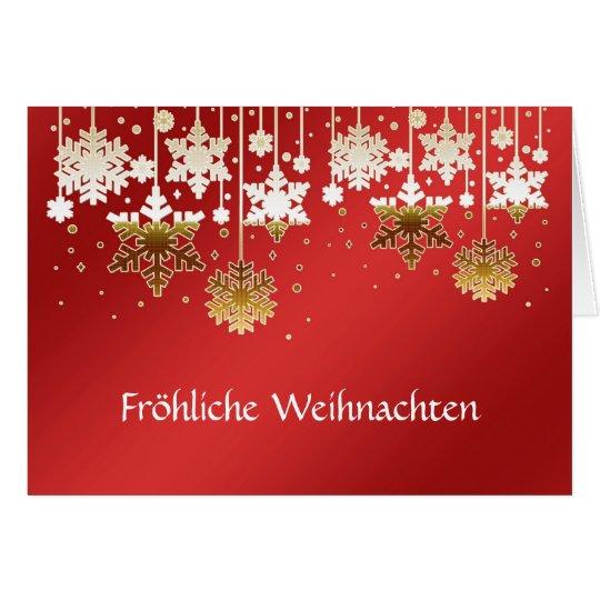 German Christmas snowflakes on red Card