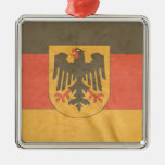 German Coat of Arms Flag Square Metal Christmas Ornament