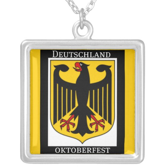 GERMAN COAT OF ARMS OKTOBERFEST PRINT SILVER PLATED NECKLACE