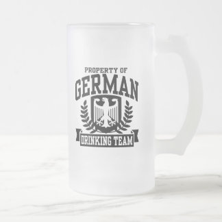 German Drinking Team 16 Oz Frosted Glass Beer Mug