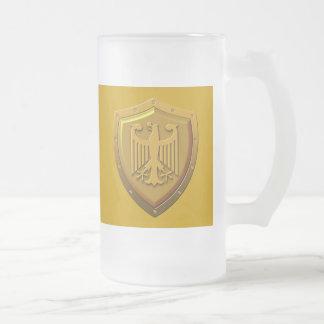 German Eagle Shield Frosted Glass Beer Mug