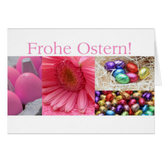 German Easter Greeting Pink Collage Greeting Card