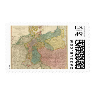 German Empire Atlas Map Postage Stamps