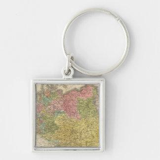 German Empire Silver-Colored Square Keychain