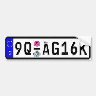 German Euro License Plate White Bumper Sticker Car Bumper Sticker