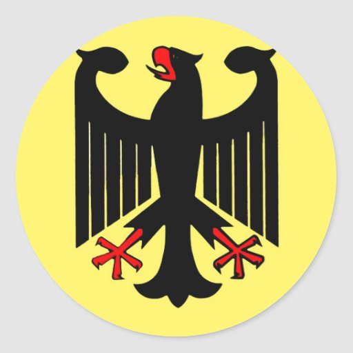 German Federal Black Eagle on Yellow Shield Classic Round Sticker