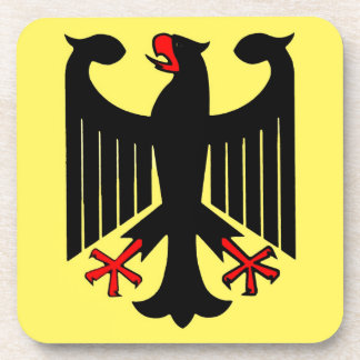 German Federal Black Eagle on Yellow Shield Drink Coaster