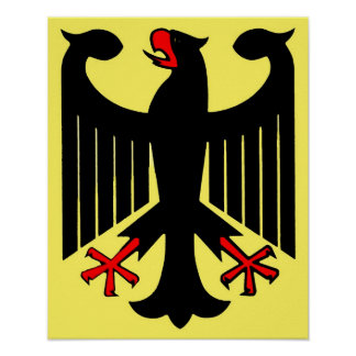 German Federal Black Eagle on Yellow Shield Poster