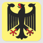 German Federal Black Eagle on Yellow Shield Square Sticker