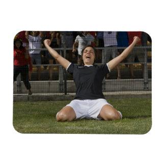 German female soccer player celebrating goal rectangular photo magnet