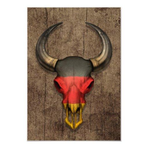 German Flag Bull Skull on Wood Effect 3.5x5 Paper Invitation Card