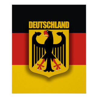 German Flag & Coat of Arms Poster