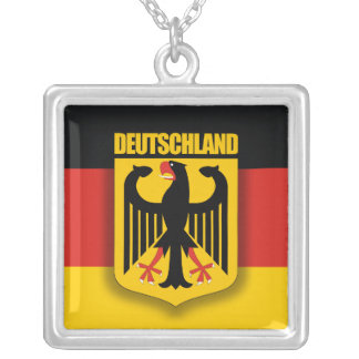 German Flag & Coat of Arms Silver Plated Necklace