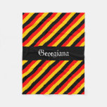 [ Thumbnail: German Flag Colors Stripes Pattern + Custom Name Fleece Blanket ]