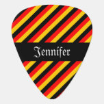 [ Thumbnail: German Flag Colors Stripes Pattern + Custom Name Guitar Pick ]