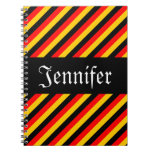 [ Thumbnail: German Flag Colors Stripes Pattern + Custom Name Notebook ]