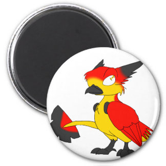 German Flag-Coloured Reptilian Bird Magnet 2 Inch Round Magnet