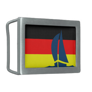 German Flag Deutschland Sail Boat Nautical Rectangular Belt Buckle