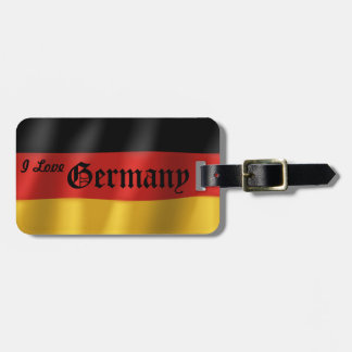 German Flag Luggage Tag w/ leather strap