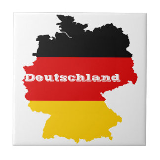 German Flag Map Ceramic Tile
