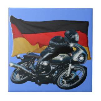 German Flag & Motorbike Rider Ceramic Tile