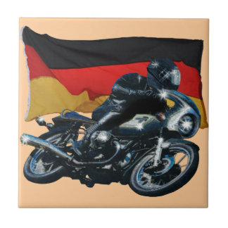German Flag & Motorbike Rider Tile