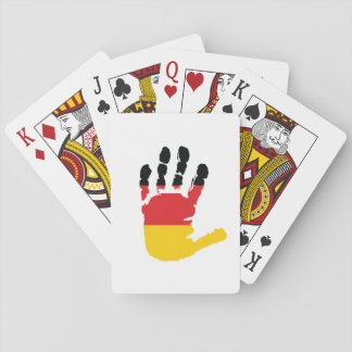German Flag On A Hand Playing Cards