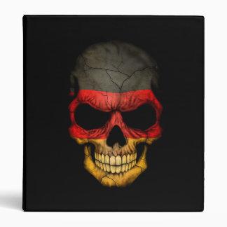 German Flag Skull on Black 3 Ring Binder