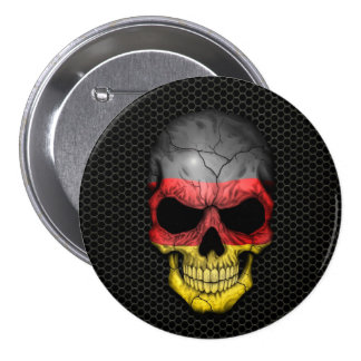 German Flag Skull on Steel Mesh Graphic Button