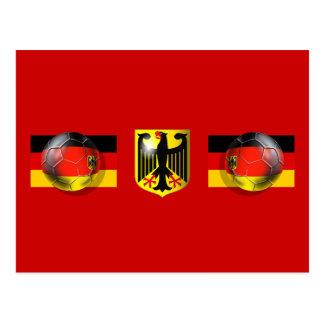 German flag soccer ball Fussball fans gifts Post Cards