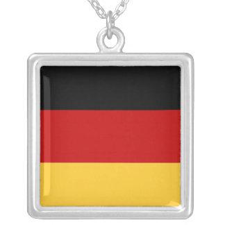 German Flag Square Pendant Necklace