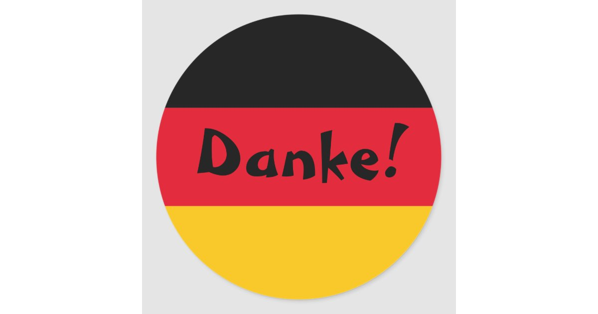 German Flag Thank You Danke Classic Round Sticker | Zazzle.com