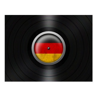 German Flag Vinyl Record Album Graphic Postcard