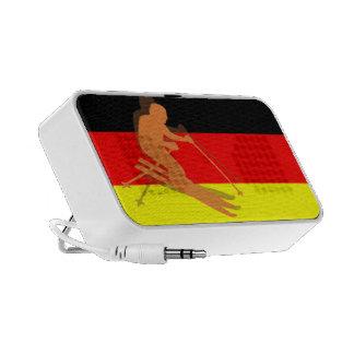 German Flag Winter Sports Skier Skiing Germany Mini Speakers