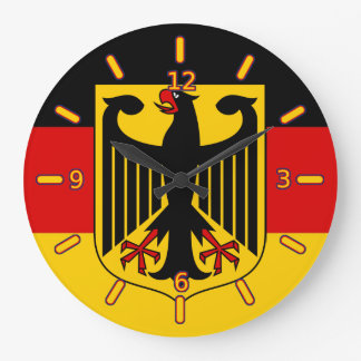 German Flag with Crest Clock (With Numbers)