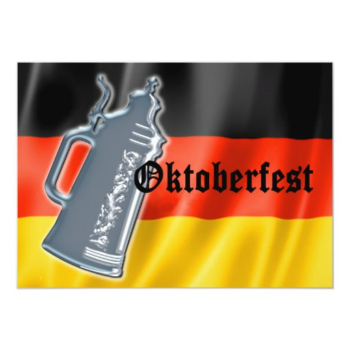 German Flag with Oktoberfest and Pewter Beer Stein 5x7 Paper Invitation Card
