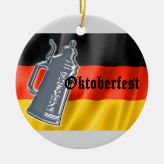 German Flag with Oktoberfest and Pewter Beer Stein Ornaments