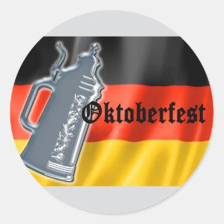 German Flag with Oktoberfest and Pewter Beer Stein Round Sticker
