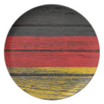 German Flag with Rough Wood Grain Effect Plate