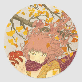 German for Autumn Classic Round Sticker