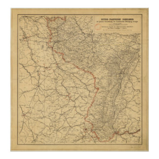 German-French Border Countries by G Lang Metz 1887 Poster