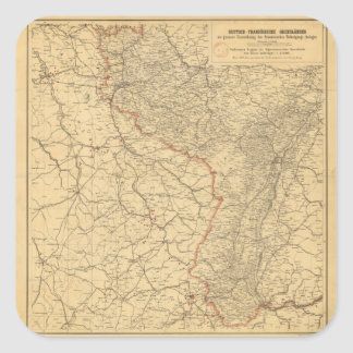 German-French Border Countries by G Lang Metz 1887 Square Sticker