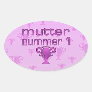 German Gifts for Moms: Mutter Nummer 1 Oval Sticker