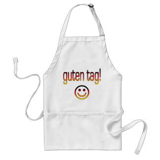 German Gifts : Hello / Guten Tag + Smiley Face Adult Apron