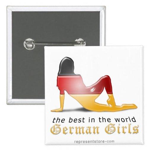German Girl Silhouette Flag Pinback Button